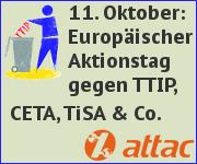 11. Oktober: Europaweiter Aktionstag gegen TTIP, CETA, TiSA & Co.